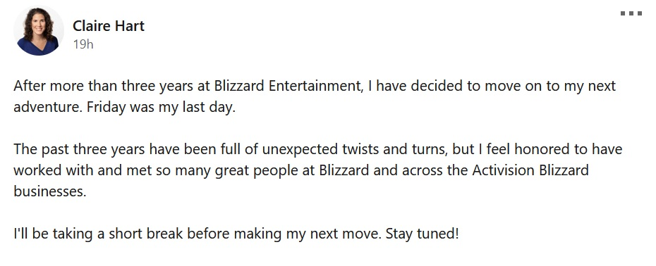 Claire Hunt's resignation comes amid the growing intensity of issues at Activision Blizzard which has included the SEC opening its own investigation into the company.