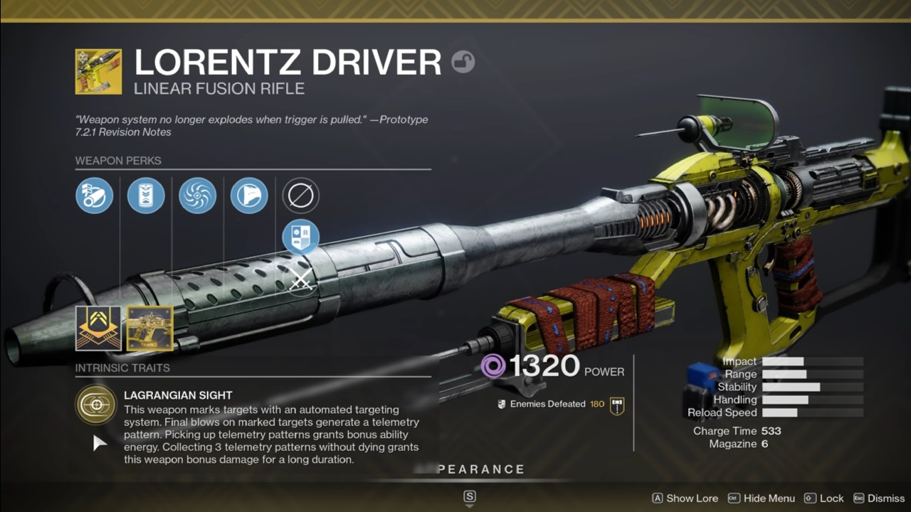 The Destiny 2 Hotfix 3.3.0.1 patch notes took hefty aim at the Lorentz Driver, which was letting players take just slightly too good of a hefty aim at other players in PVP with Lagrangian Sight.