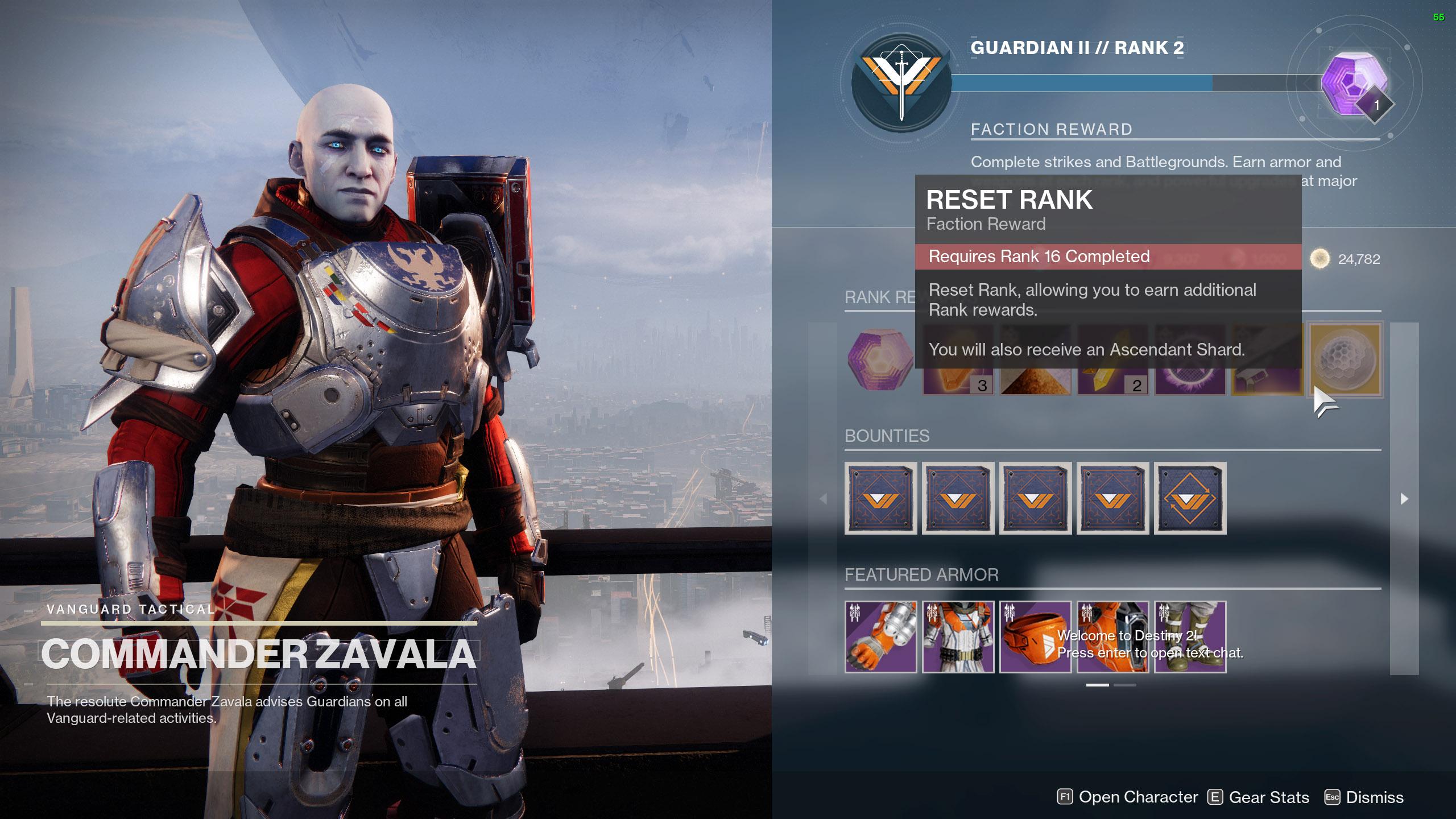 reset vanguard rank destiny 2