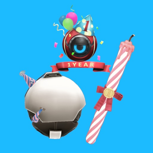 The Diabotical first anniversary loot collection includes a birthday cake candle melee weapon, anniversary shell, and birthday spray.