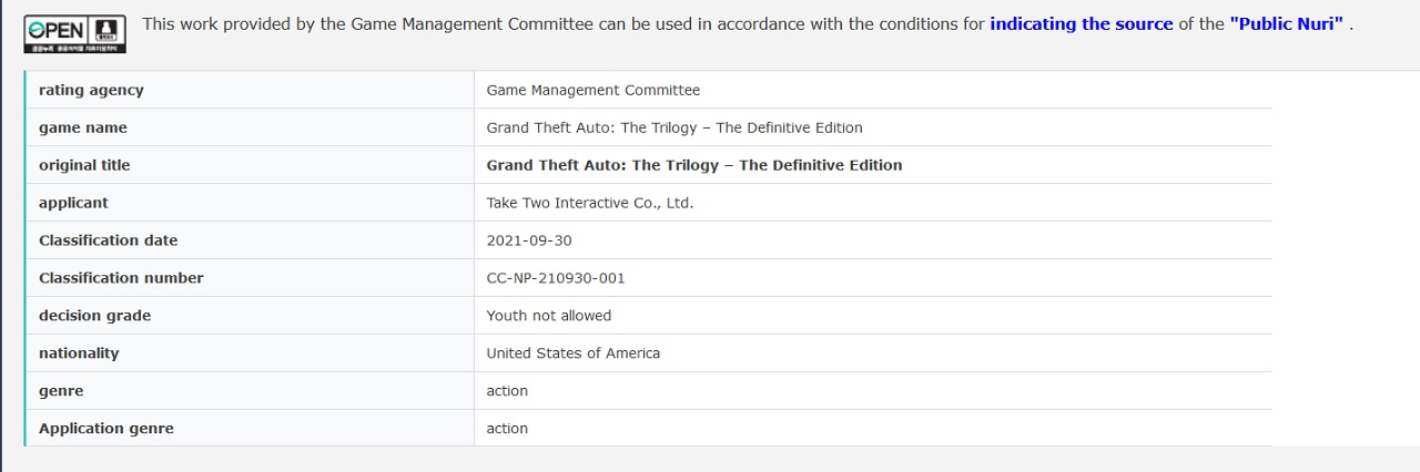 The listing of Grand Theft Auto: The Trilogy - Definitive Edition on the Korean Game Rating and Administration Committee website is pretty strong proof that the remastered trilogy is coming soon.