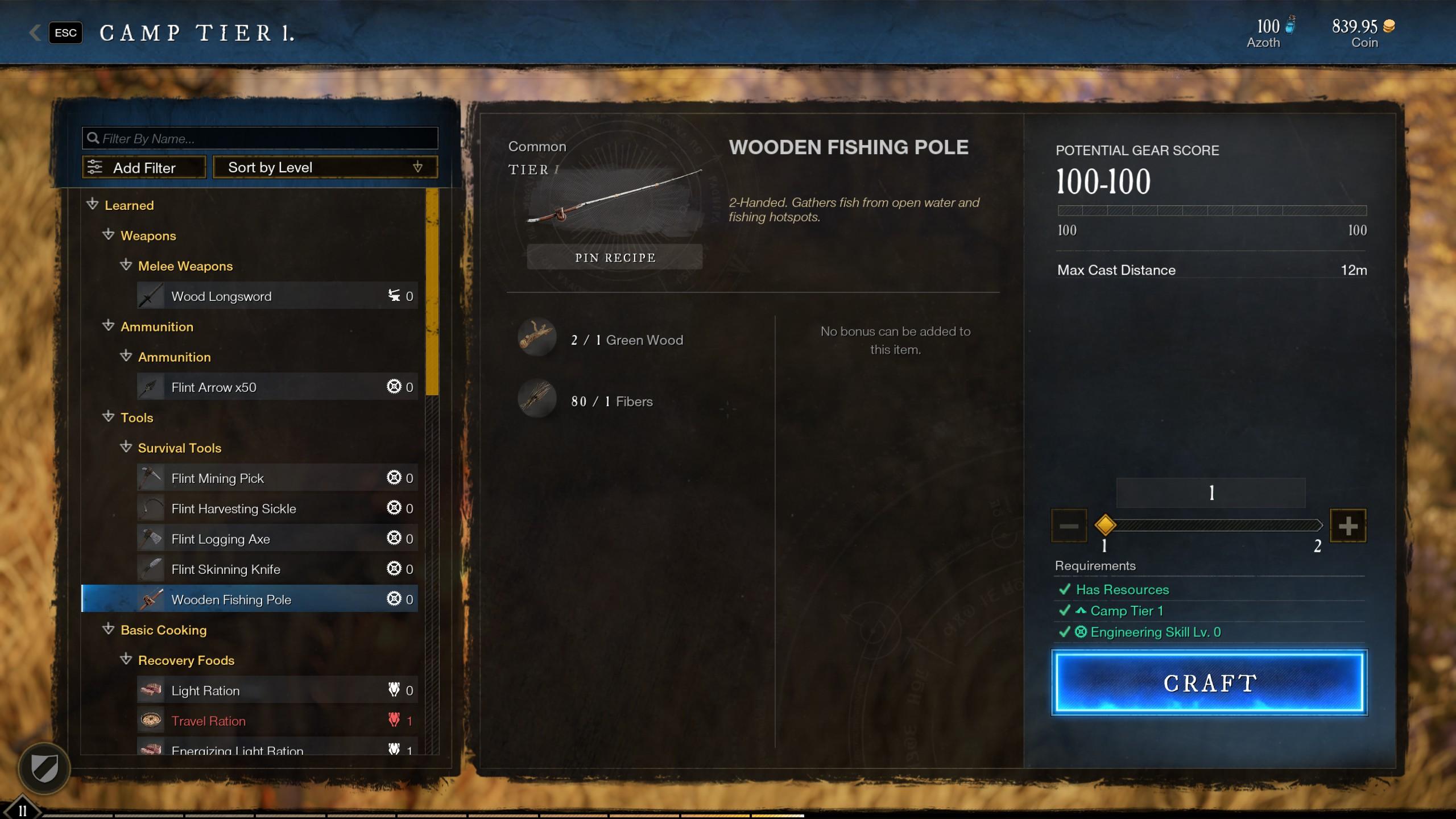 new world craft fishing rod