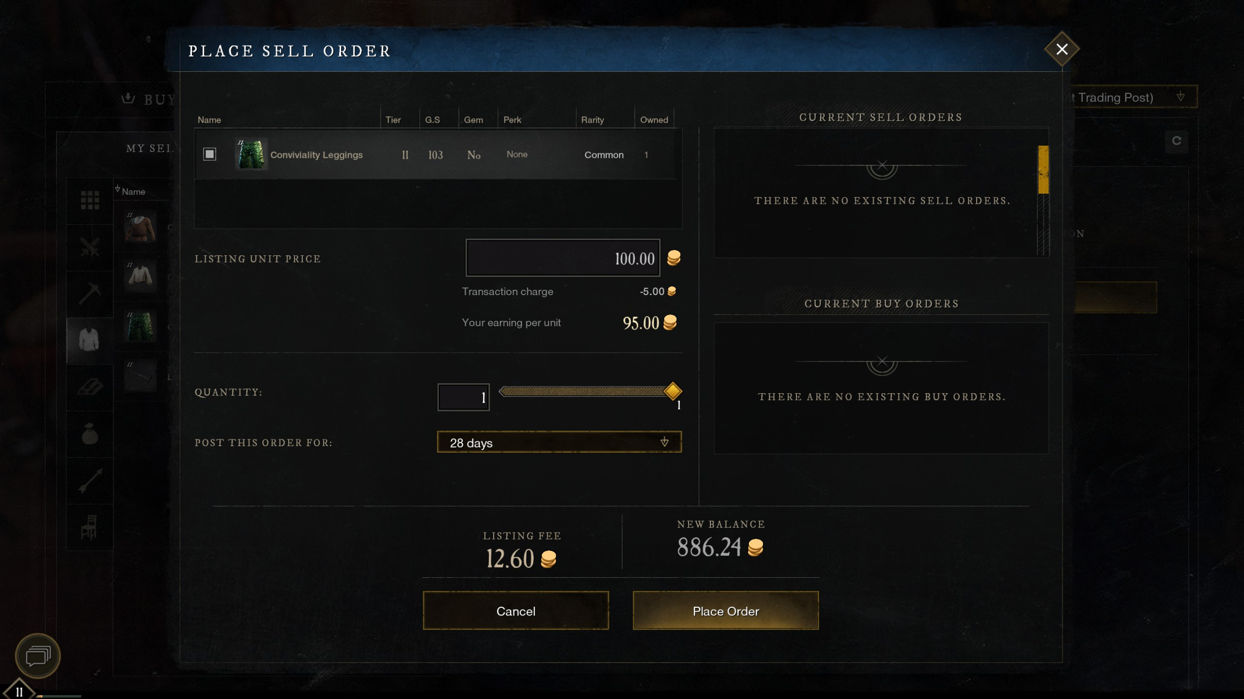 new world place sell order