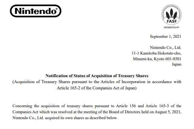 Nintendo posted this Notification of Status of Acquisition of Treasury Shares today.