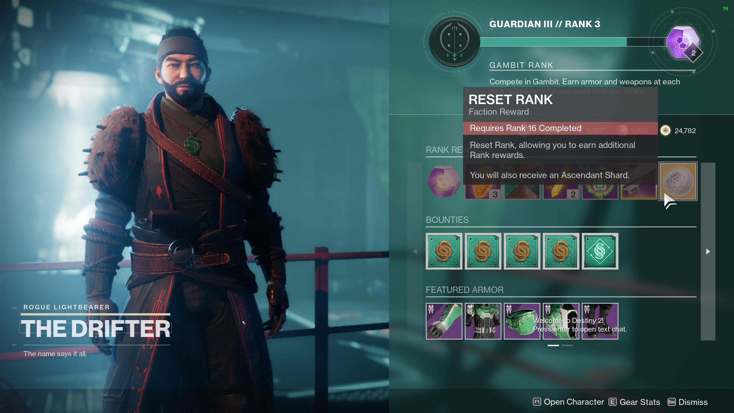 destiny 2 reset gambit ranks