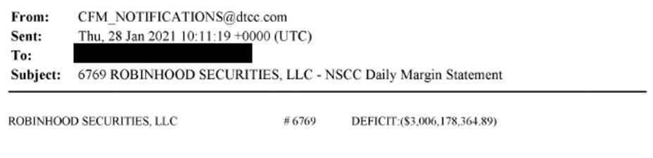 Citadel Securities posted a screenshot of a margin call notice sent to Robinhood via email.