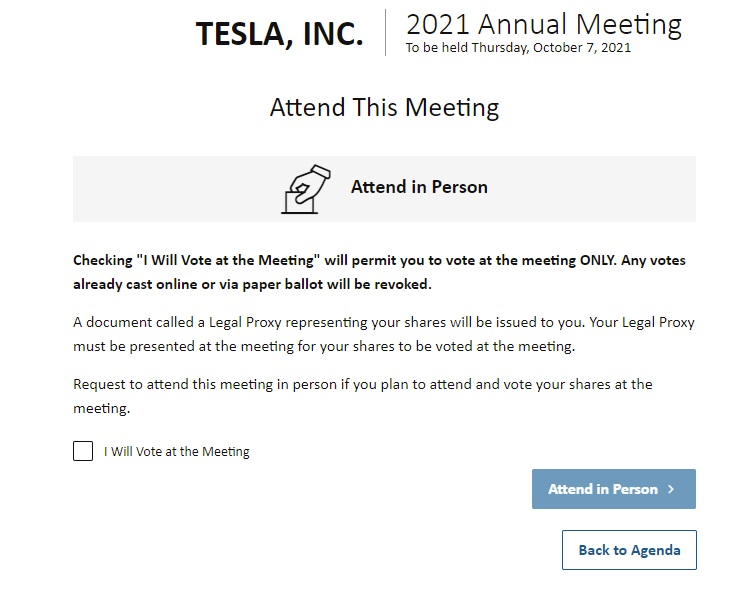 According to the Tesla Shareholder Meeting email, it's set to take place on October 7 and participants can opt into in-person or remote voting.