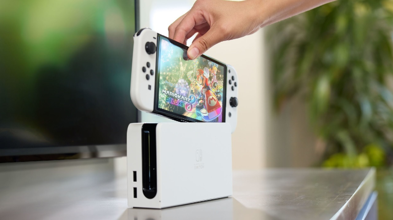 The new Nintendo Switch OLED model dock is an upgrade over the original dock in several ways, including the built-in Ethernet cable port.