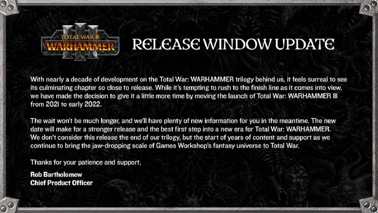 Announced on its Twitter, Creative Assembly and Sega have decided to give Total War: Warhammer 3 the time it needs to be the final chapter fans expect.
