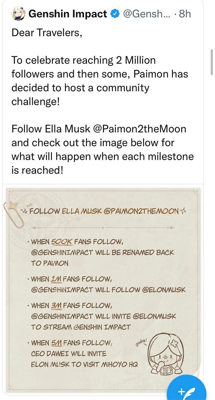 The now-deleted tweet from Genshin Impact tried to capitalize on the popularity of Elon Musk. It didn't go over well with fans.